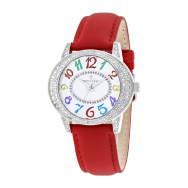 jcpenney.com | Christian Van Sant Sevilla Womens Red Leather Strap Watch