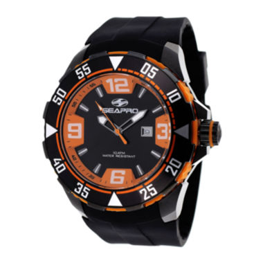 jcpenney.com | Seapro Diver Mens Orange and Black Silicone Strap Watch