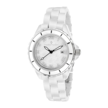 jcpenney.com | Christian Van Sant Palace Womens Mother-of-Pearl White Ceramic Bracelet Watch