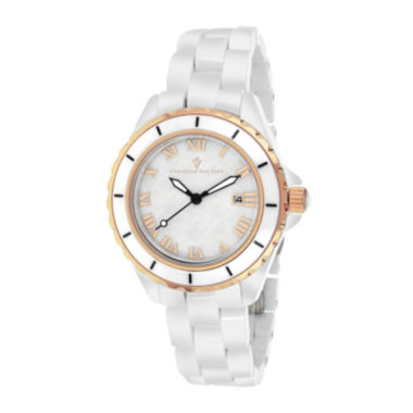 jcpenney.com | Christian Van Sant Ladies White and Rose Gold Tone Palace Bracelet Watch