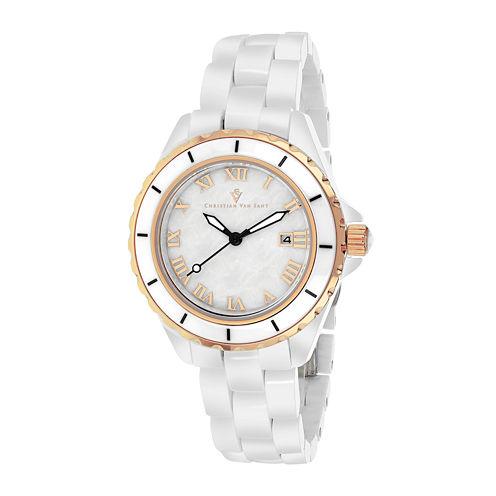 Christian Van Sant Ladies White and Rose Gold Tone Palace Bracelet Watch