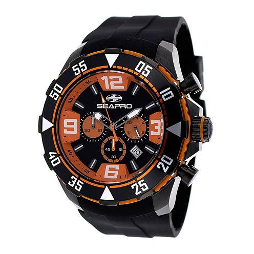 Seapro Diver Mens Orange Dial Black Silicone Strap Watch
