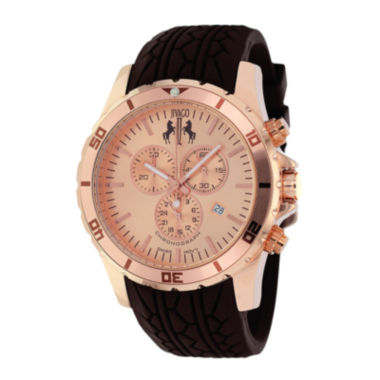 jcpenney.com | Jivago Ultimate Mens Rose-Tone Dial Brown Silicone Strap Watch