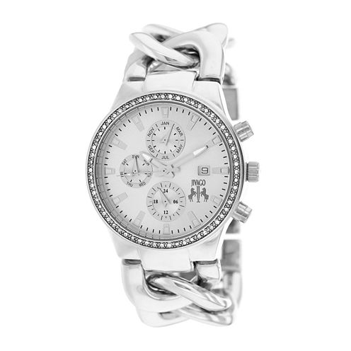 Jivago Lev Womens Silver Dial Stainless Steel Bracelet Watch