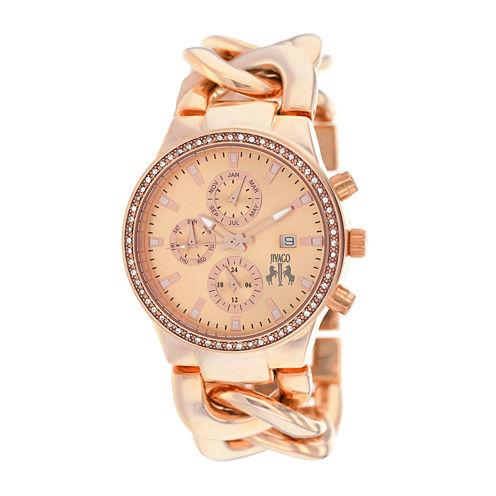 Jivago Lev Womens Rose-Tone Dial Rose-Tone Stainless Steel Bracelet Watch