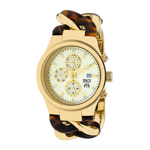 Jivago Lev Womens Gold-Tone Dial Brown Stainless Steel Bracelet Watch