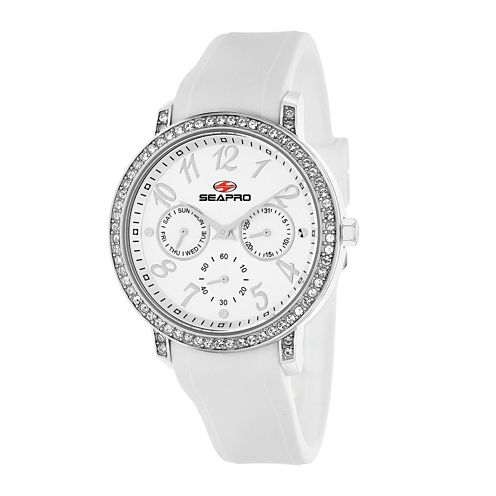 Seapro Womens Swell Silver Dial White Silicone Strap Watch
