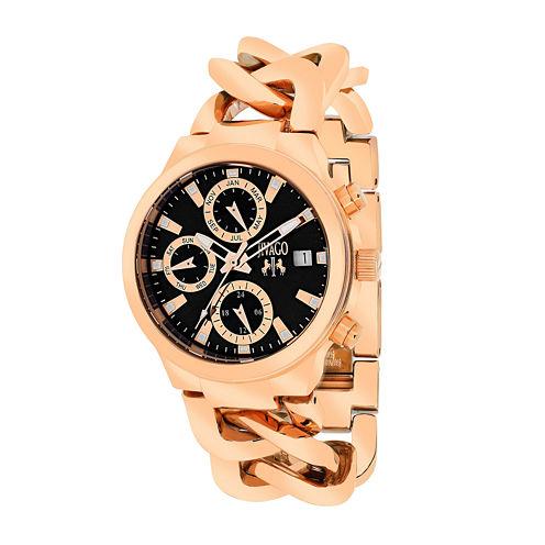 Jivago Womens Levley Black Dial Rose-Tone Stainless Steel Bracelet Watch