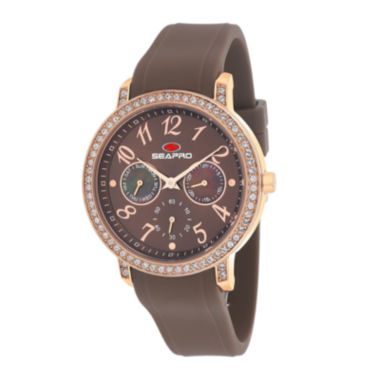 jcpenney.com | Seapro Womens Swell Brown Silicone Strap Watch
