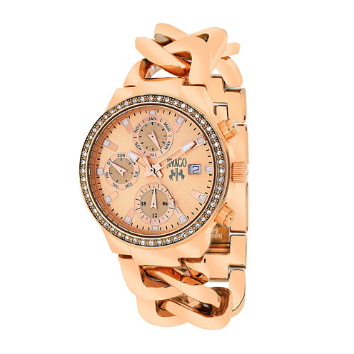 Jivago Womens Levley Rose-Tone Stainless Steel Bracelet Watch