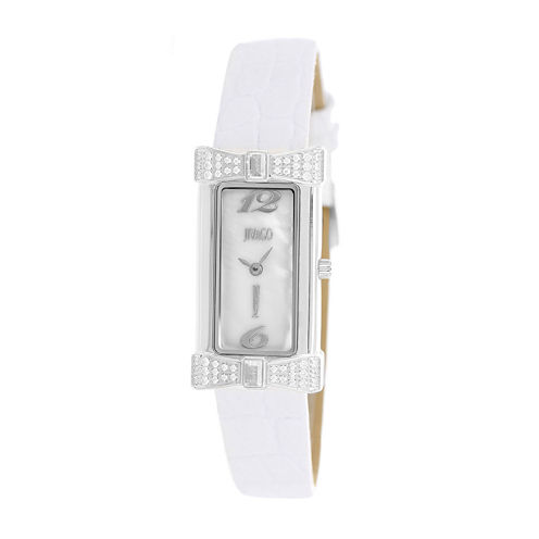 Jivago Womens Charmante White Faux Pearl Leather Strap Watch