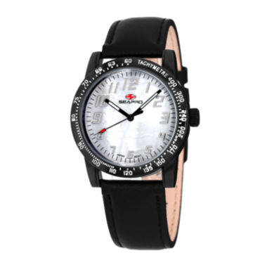 jcpenney.com | Seapro Womens Bold White Faux Pearl Dial Black Leather Strap Watch