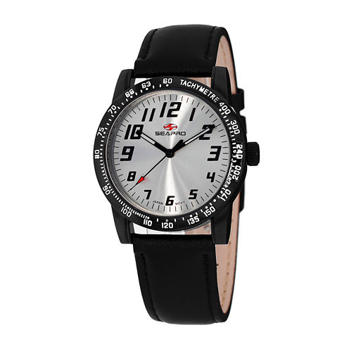Seapro Bold Womens Black Leather Strap Watch