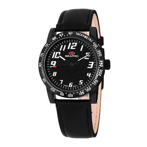 Seapro Bold Womens All Black Leather Strap Watch