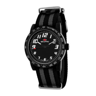 jcpenney.com | Seapro Bold Womens Black Leather Strap Watch