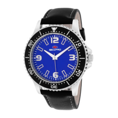 jcpenney.com | Seapro Tideway Mens Blue Dial and Black Leather Strap Watch