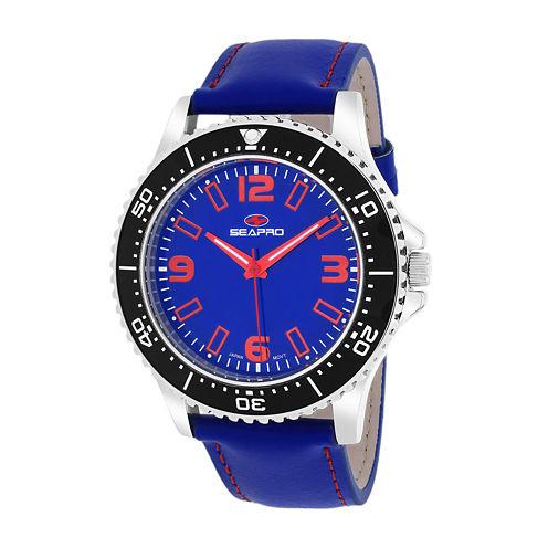 Seapro Tideway Mens Blue Dial Blue Leather Strap Watch