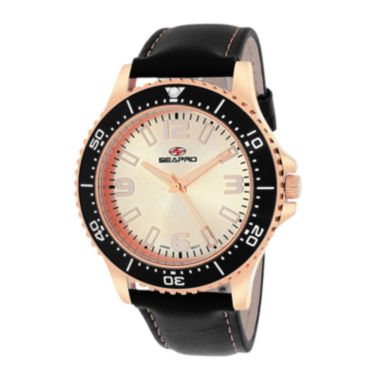 jcpenney.com | Seapro Tideway Mens Rose-Tone Dial Black Leather Strap Watch