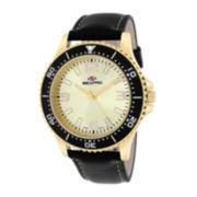 Seapro Tideway Mens Gold-Tone Dial Black Leather Strap Watch
