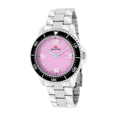 jcpenney.com | Seapro Tideway Womens Pink Dial Stainless Steel Bracelet Watch