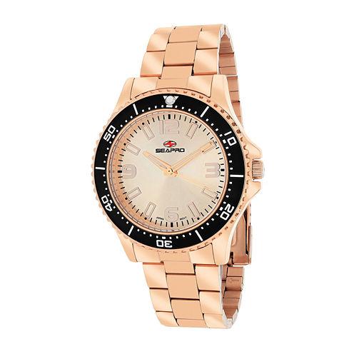 Seapro Tideway Womens Rose-Tone Dial Rose-Tone Stainless Steel Bracelet Watch