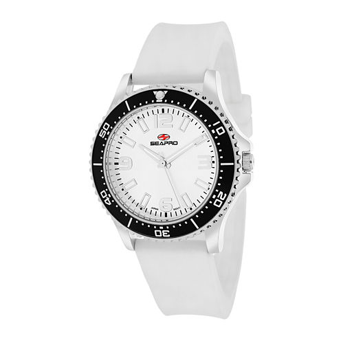 Seapro Tideway Womens White Dial White Silicone Strap Watch