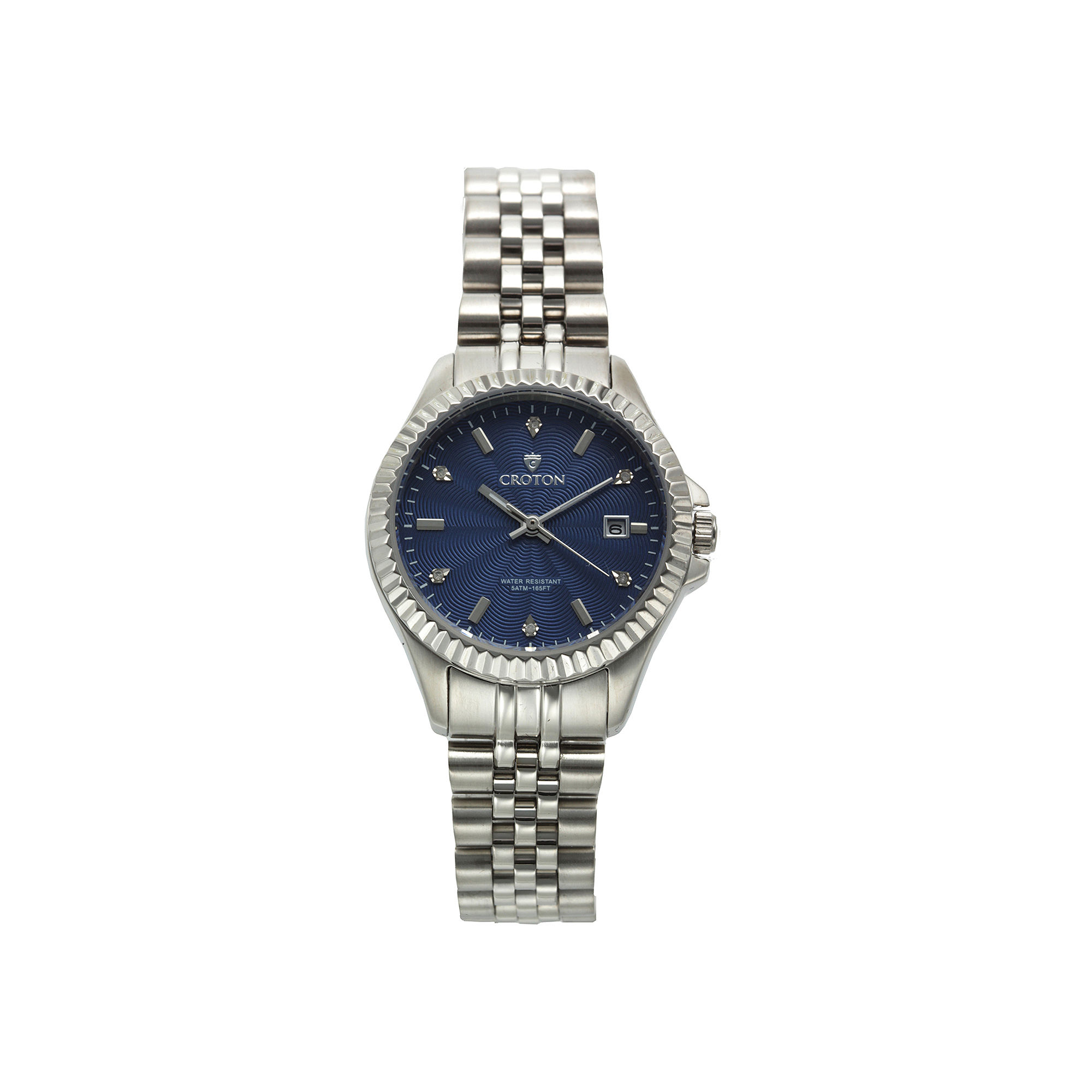 Croton Womens Blue Dial Diamond Accent Stainless Steel Bracelet Watch