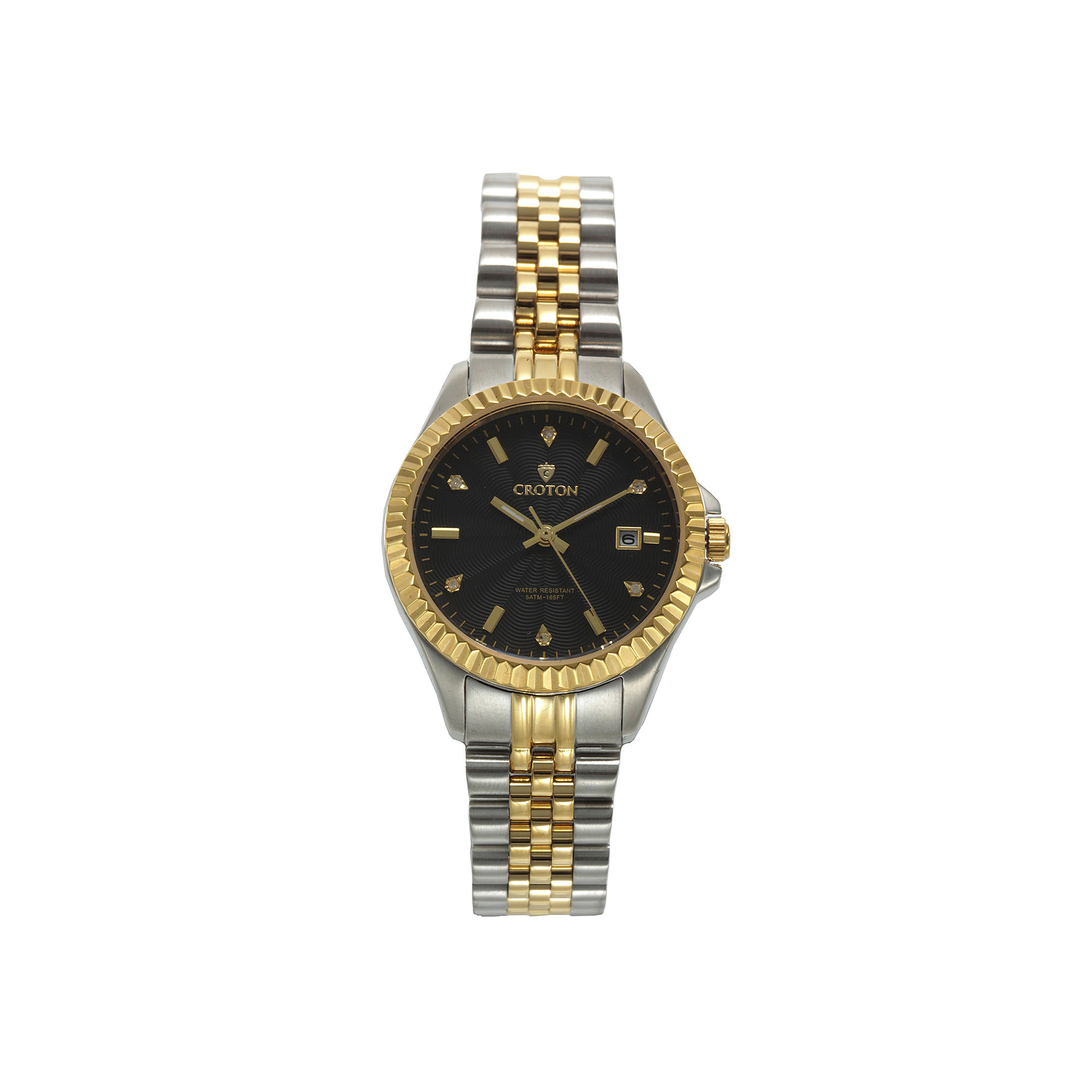 Croton Womens Black Dial Diamond Accent Two-Tone Stainless Steel Bracelet Watch