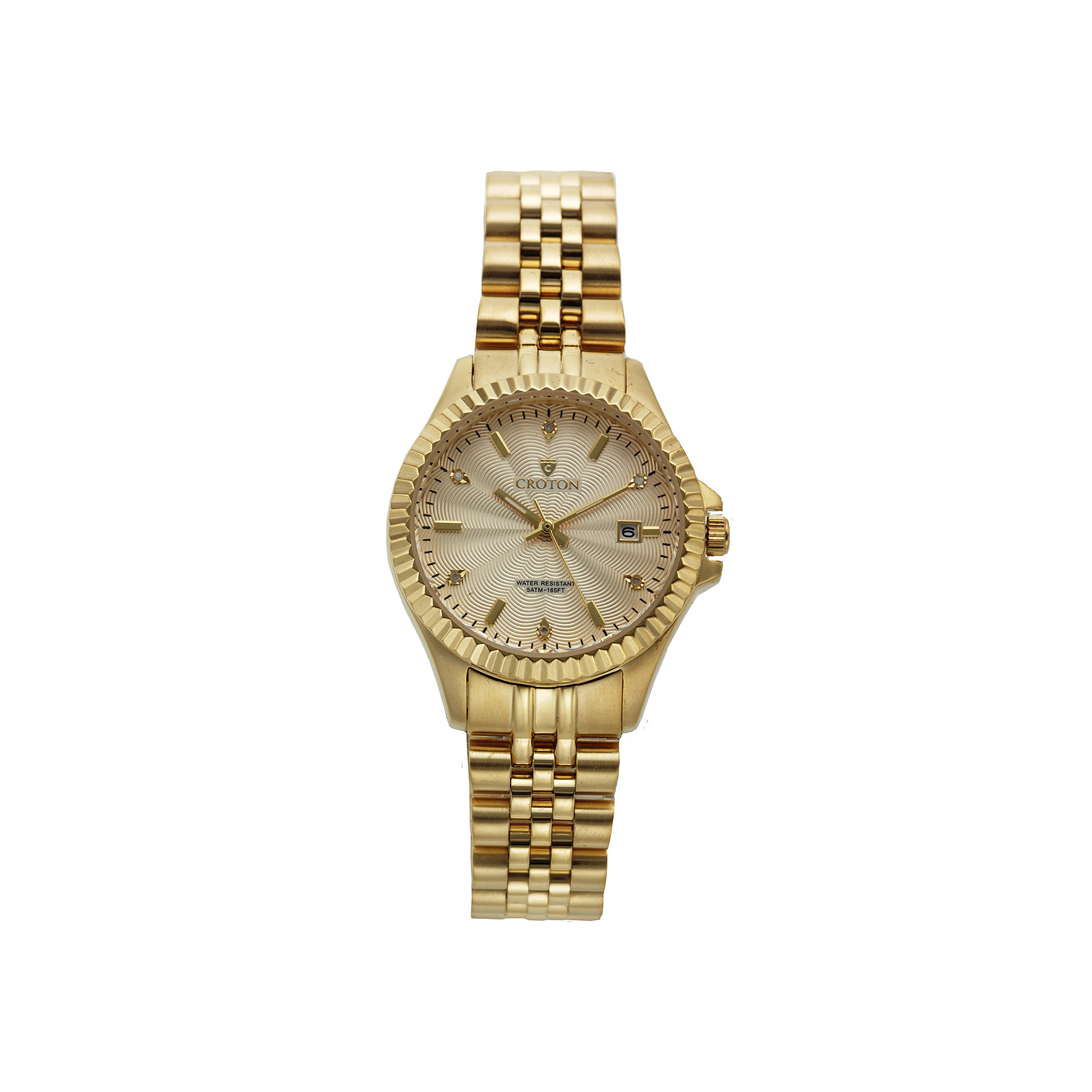 Croton Womens Diamond Accent Gold-Tone Bracelet Watch