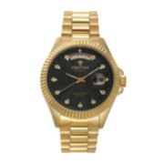 Croton Mens Diamond Accent Mother-of-Pearl Dial Gold-Tone Stainless Steel Watch