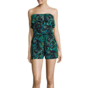 Decree® Strapless Ruffle-Front Romper