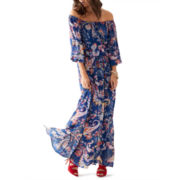 Bisou Bisou® Long-Sleeve Floral Maxi Dress
