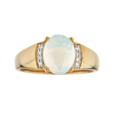 jcpenney.com | LIMITED QUANTITIES  Genuine Opal Diamond Accent 10K Yellow Gold Ring