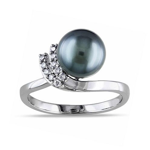 1/10 CT. T.W. Diamond & Genuine Black Tahitian Pearl 10K White Gold Ring