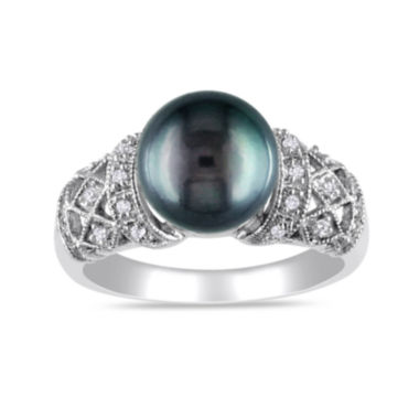 jcpenney.com | 1/10 CT. T.W. Diamond & Genuine Black Tahitian Pearl 14K White Gold Ring