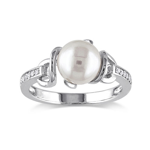 Cultured Freshwater Pearl and Diamond Accent Sterling Silver Ring