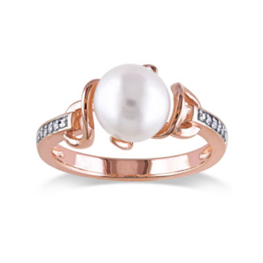 jcpenney.com | Cultured Freshwater Pearl and Diamond Accent Rose Gold Over Silver Ring