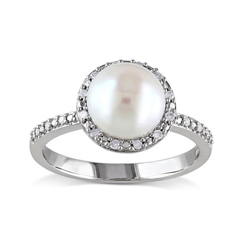 1/10 CT. T.W. Diamond and Cultured Freshwater Pearl Sterling Silver Ring