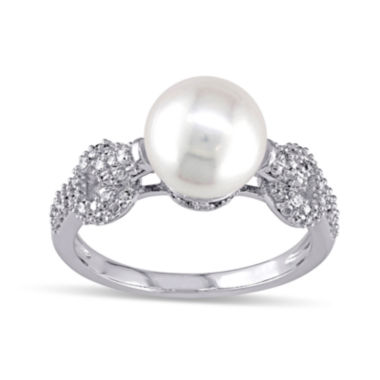 jcpenney.com | 1/4 CT. T.W. Diamond & Cultured Freshwater Pearl 10K White Gold Ring