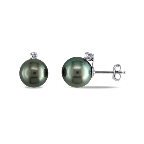 1/10 CT. T.W. Diamond and Genuine Black Tahitian Pearl Earrings