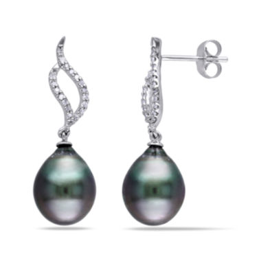 jcpenney.com | 1/10 CT. T.W. Diamond and Black Tahitian Pearl 10K White Gold Earrings