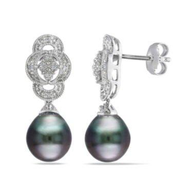 jcpenney.com | Genuine Black Tahitian Pearl & Diamond Accent Sterling Silver Earrings