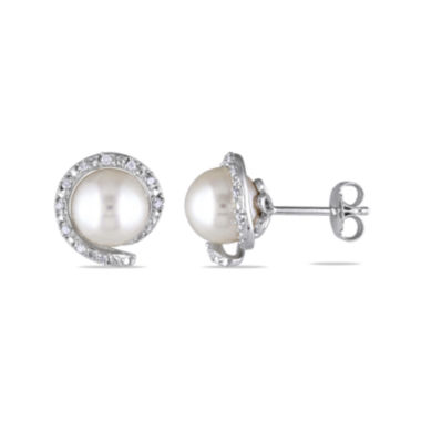 jcpenney.com | 1/10 CT. T.W. Diamond & Cultured Freshwater Pearl Sterling Silver Earrings