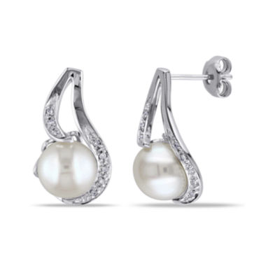 jcpenney.com | Cultured Freshwater Pearl & Diamond Accent Sterling Silver Earrings