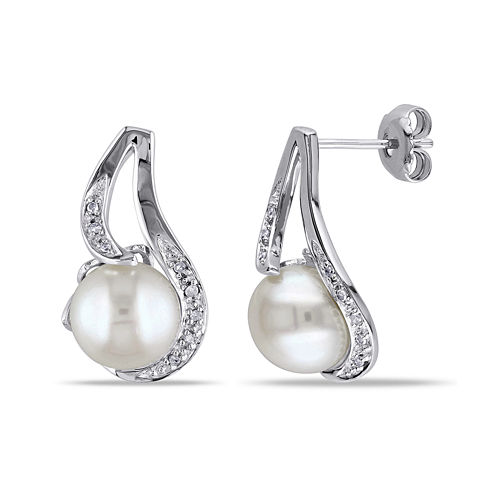 Cultured Freshwater Pearl & Diamond Accent Sterling Silver Earrings