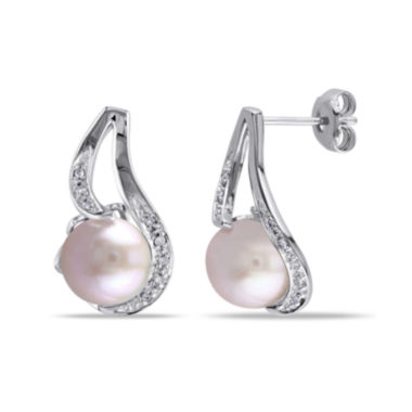 jcpenney.com | Pink Cultured Freshwater Pearl & Diamond Accent Sterling Silver Earrings