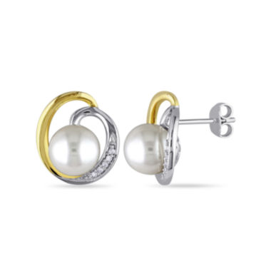jcpenney.com | Cultured Freshwater Pearl and Diamond Accent 14K Yellow Gold Post Earrings