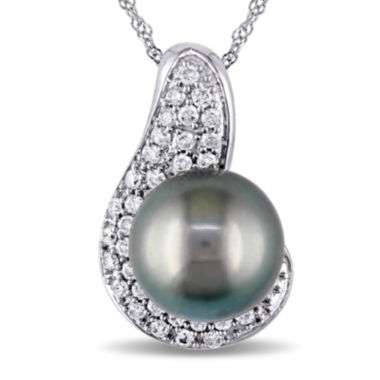 jcpenney.com | Genuine Black Tahitian Pearl and Diamond Accent 14K White Gold Pendant