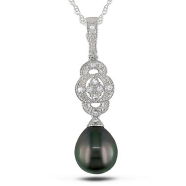 jcpenney.com | Genuine Black Tahitian Pearl & Diamond Accent Sterling Silver Pendant