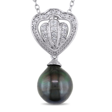 jcpenney.com | 1/8 CT. T.W. Diamond & Genuine Black Tahitian Pearl Sterling Silver Pendant